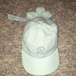 Green and White seersucker Lauren James bow hat